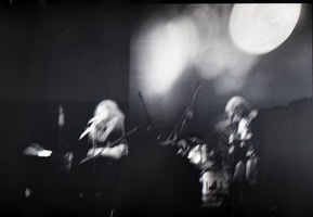 First page of Jethro Tull in concert at the Springfield Civic Center: blurry image of             Ian Anderson (on flute)