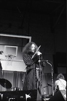 First page of Jethro Tull in concert at the Springfield Civic Center: Ian Anderson at             microphone with flute