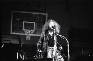 First page of Jethro Tull in concert at the Springfield Civic Center: Ian Anderson at             microphone