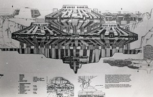 First page of Architectural sketch of Babel city by Paolo Soleri