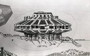 First page of Architectural sketch of imagined city by Paolo Soleri