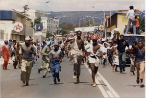 First page of Jubilation in Maseru streets as news of Chief Jonathan's overthrow             spreads