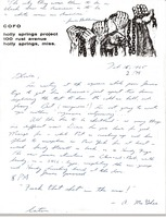 First page of Letter from Ken Scudder to Gloria Xifaras Clark