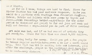 First page of Letter from Chude Pamela Parker Allen to Gloria Xifaras Clark