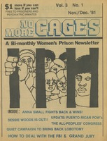 First page of No more cages A Bi-monthly women's prison newsletter vol. 3 no. 1 November/December