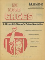 First page of No more cages A Bi-monthly women's prison newsletter vol. 3 no. 3 March/April