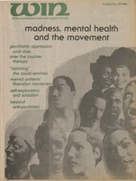 First page of Win Peace & freedom thru nonviolent action vol. 15 no. 27 & 28 Madness, mental helath and the movement