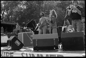 First page of Flora Purim (microphone) and band performing at Jazz Festival, Hampshire College