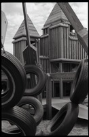 First page of Playground equipment: tires and wooden platform