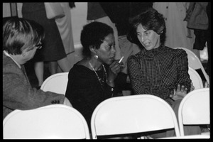 First page of Arthur F. Kinney (left) and Esther Terry (center) at the 10th anniversary celebrations for Women's Studies at UMass Amherst