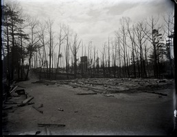 First page of Ruins of the fire at Lake Pleasant Image of ruins and scorched trees