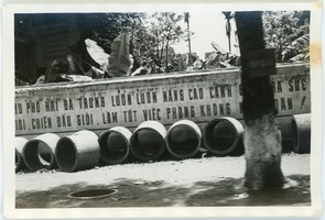 First page of Solo concrete bomb shelters stockpiled in French Quarter street