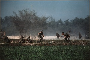 First page of ARVN soldiers taking cover