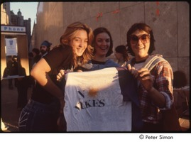 First page of MUSE concert and rally: three young women holding a 'no nukes' t-shirt