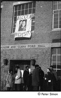 First page of African American occupiers in front of Ford Hall and banner proclaiming 'Malcolm X             University': white student support for Brandeis University African American student protest