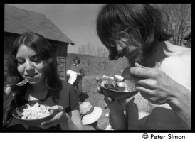 First page of May Day at Packer Corners commune: eating lunch Includes (l. to r.) Connie Silver, Laurie Dodge (background), Marty Jezer