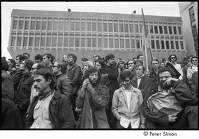 First page of MIT war research demonstration: demonstrators in front of the Hermann Building