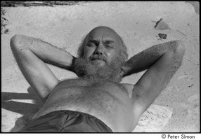 First page of Jungle Beach: Ram Dass laying in the sand