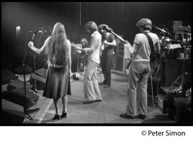 First page of Grateful Dead on stage Left to right: Donna Godchaux, Bob Weir, Jerry Garcia, Phil Lesh, Mickey Hart