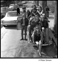 First page of Friends piled onto the top of a Volkswagen Beetle Group includes Carly Simon (center front), Jeff Albertson, Nancy Hazen, with             Harry Saxman and Marcia Braun in background