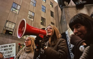 First page of Gloria Steinem addressing a demonstration with Letty Cottin Pogrebin