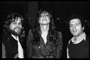 First page of Stu Werbin, Carly Simon, and Al Perry at Elektra Records party (l. to         r.)