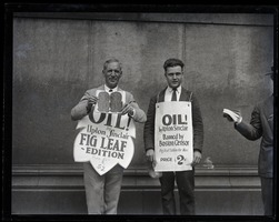 First page of Upton Sinclair and supporter (possibly his son David)M protesting at censorship hearings for his novel Oil!,          wearing sandwich boards reading 'Oil!... fig leaf edition' and '...banned by Boston censor'