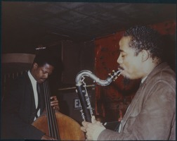 First page of Eric Dolphy (saxophone) and unidentified (bass), performong at the Jazz Workshop