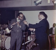 First page of Dizzy Gillespie (right), with James Moody (flute) performing at the Jazz Workshop