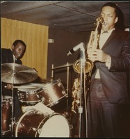 First page of John Coltrane (saxophone) and  Elvin Jones (drums) performing at the Jazz Workshop