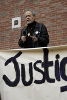 First page of Justice for Jason rally at UMass Amherst: Michael Ekwueme Thelwell speaking at the rally in support of             Jason Vassell, outside the Student Union Building