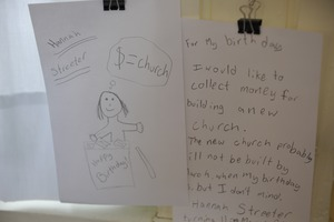 First page of Aftermath of the Congregational Church fire in West Cummington, Mass.:             child's note offering to collect money for the church for her birthday
