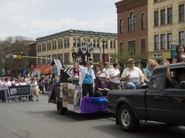 First page of 'Out for Reel' crew in their float during the Pride Parade; Main Street, Northampton, Mass.