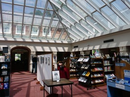 First page of Jones Library: interior of newly renovated atrium