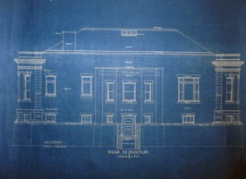 First page of Griswold Memorial Library: blueprints of rear elevation by McLean & Wright             Architects