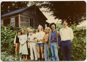 First page of Group including Amy Wainer (2d from left), Sue Kramer and Janice Frey (5th and             6th from left), and Tony Mathews (far right), Montague Farm Commune