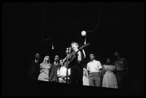First page of Bob Dylan leading performers on stage, Newport Folk Festival Left to right: Peter Yarrow, Mary Travers, Paul Stookey, Joan Baez, Bob Dylan,             Bernice Reagon, Cordell Reagon, Charles Neblett, Rutha Harris, Pete Seeger