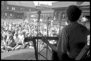 First page of Bob Dylan performing on Porch #1, Newport Folk Festival View from rear stage looking toward the audience