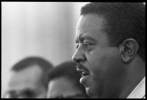 First page of Rev. Ralph Abernathy speaking at the Solidarity Day during the Poor People's             March on Washington Portrait in profile