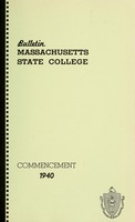 First page of Commencement 1940 Bulletin Massachusetts State College 32, no. 5