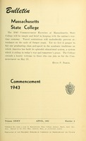 First page of Commencement 1943 Bulletin Massachusetts State College  35, no. 2