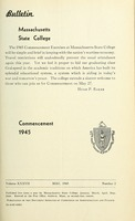 First page of Commencement 1945 Bulletin Massachusetts State College 37, no. 2