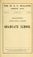 First page of Massachusetts Agricultural College Graduate School M.A.C. Bulletin vol. 6, no. 5