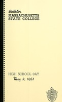 First page of High School day, May 2, 1942 Bulletin Massachusetts State College 34, no. 4