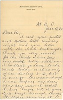 First page of Letter from Newton Shultis to Mark Shultis