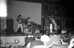 First page of Homecoming concert, Curry Hicks Cage The Boys from New York City on stage: Ray Martinez, Hank Cordello, Tony             Franquiero (l. to r.)