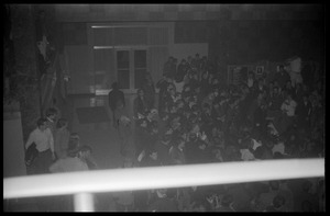 First page of Protest against Dow Chemical Co. and the war in Vietnam at the Student Union, UMass Amherst View of the crowd