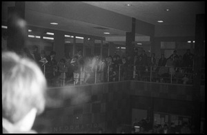 First page of Protest against Dow Chemical Co. and the war in Vietnam at the Student Union, UMass Amherst View of the crowd on the mezzanine