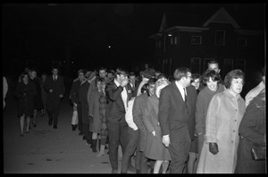 First page of Winter Carnival: Lines waiting to get into the Johnny Carson Show, Curry Hicks             Cage, UMass Amherst