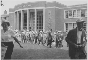 First page of Class of 1918 reunion in front of Student Union